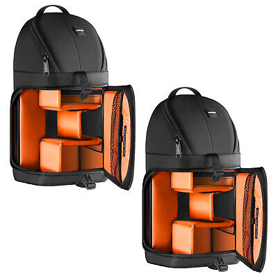 Orange Interior Durable Camera Backpack with Rain Cover for Nikon DSLR Camera