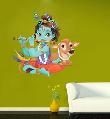 038892e16e Lord Krishna Flute Playing with Cow Multi Removable Decor Mural Wall Sticker