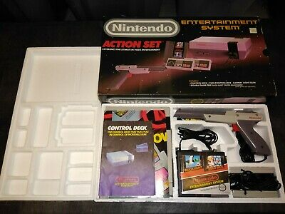 Original Nintendo Entertainment System NES Action Set Console CIB in Box! Gray