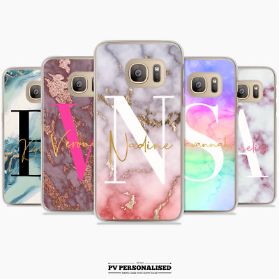 Personalised Big Initials Phone Case Cover Marble Samsung Galaxy S7 S8 S9 S10 +