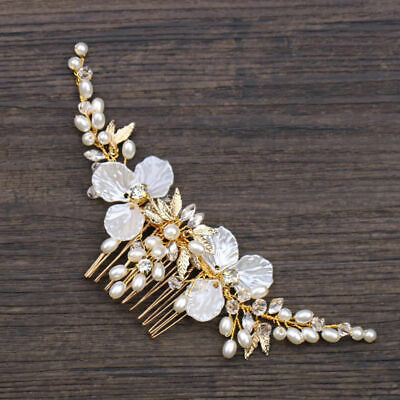 Wedding Bridal Hair Accessories Floral white Head Piece Pearls Gold Bride comb