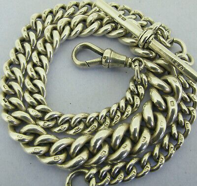 Antique Victorian Solid Sterling Silver Albert Pocket Watch Chain & T-Bar 1884