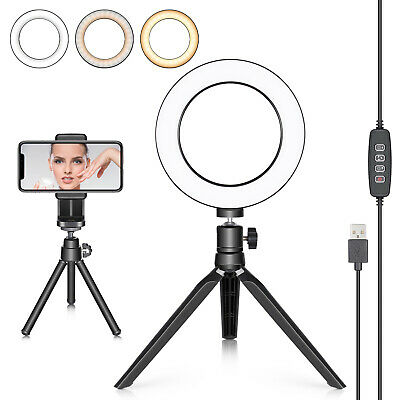 "6"" 3 Light Modes LED Ring Light with Tripod Stand for Live Streaming"