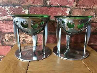 Rare Pair 1904 Art Nouveau Liberty & Co Archibald Knox Tudric/Glass 0276 Coupes