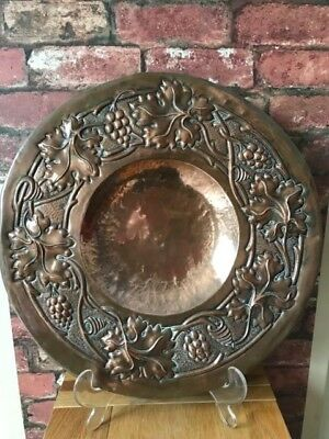 "Fabulous Newlyn 1890 Arts & Crafts 18"" Floral Repousse' Copper Charger"