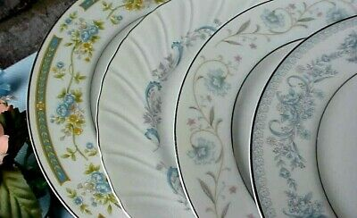 Vintage Mismatched China Dinner Plates (4) Blue Theme Silver Bands Floral