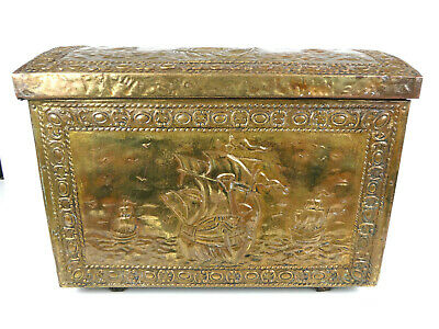 Vintage Wooden Brass Bound Pirate Chest Galleon Log Box Coal Scuttle Fireplace