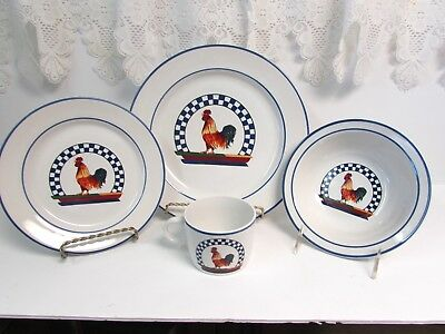 17 pc CENTURY STONEWARE REMY ROOSTER CHICKEN FARM 4-4 PC PLACE SETTINGS
