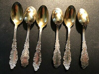 Antique (6) Gorham  Sterling Silver Gold Plated Coffee Spoons