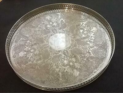 Vintage Arthur Price Silver Plated Gallery Tray with Chased design 28cm diameter