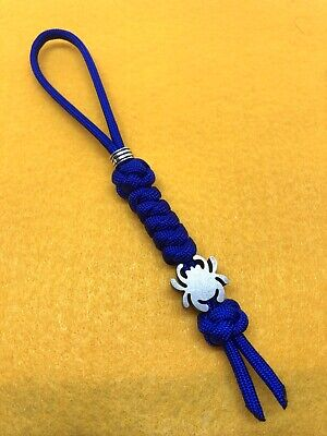 550 Paracord Knife Lanyard Electric Blue With Titanium Alloy Spyderco Bead