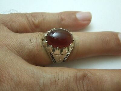 Natural Vintage Yemen Persian Carnelian Aqeeq King Ring 5.97-gm sizes us: 9