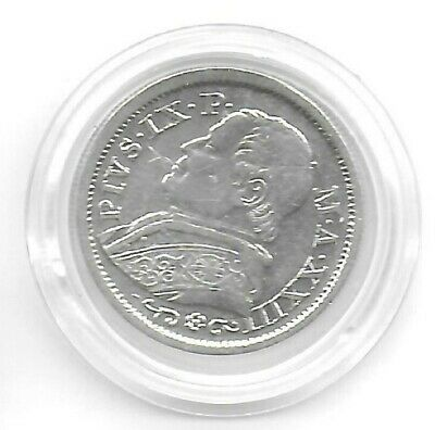 Italy(Papal States) 1868 XXIIIR 10 Soldi Silver Coin KM-1386.1 Choice XF