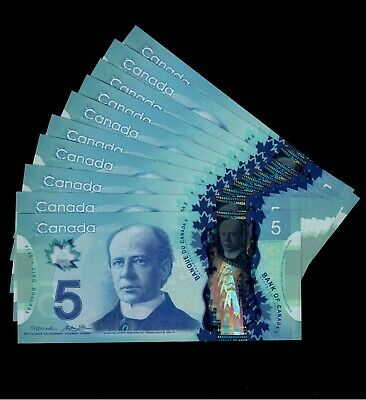 One $5 Polymer Note from the bundle. Prefix HCC. GemUNC. 2013 Canada