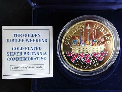 2002 Silver Proof Gold Plated Colour 5Oz Coin Box + Coa Golden Jubilee /787