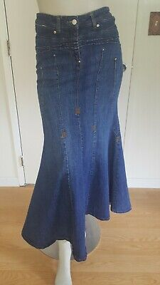 2354c1b3a6f33 BISOU BISOU LONG Denim Distressed Jean Skirt Womens size 10 Mermaid ...