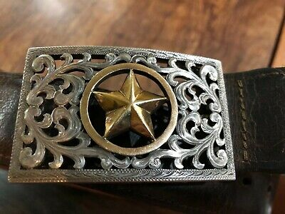 "Edward H. BOHLIN Gold Star STERLING 14K TROPHY BUCKLE Kemosabe Belt 32"" Aspen CO"