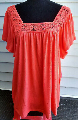 Old Navy Dressy Lace/Square Neck SS Boho Blouse/Shirt-Coral/Salmon Pink-XXL/2XL