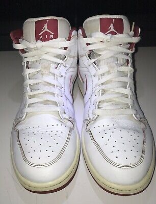 1a85cdbc10fb Air Jordan 1 Mid Mens Size 13 White Gym Red Basketball Shoes 554724 103