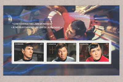 STAR TREK = SOUVENIR SHEET of 3 from PRESTIGE booklet MNH-XF Canada 2016