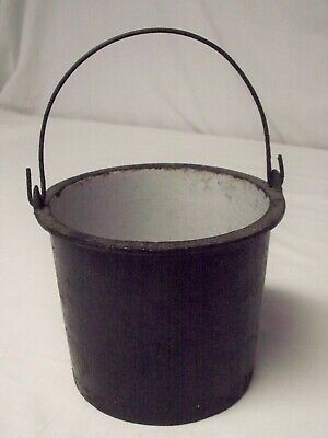 Antique Primitive Small Cast Iron Pot with Enamel Lining & Wire Bail Handle