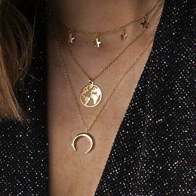 Pentagram World Map Moon Crescent Pendant Necklace Trend Multi-layer Necklace DM