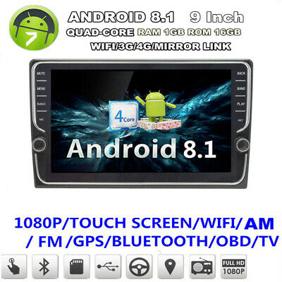 "2 Din 9"" Car Stereo Radio WIFI GPS Quad-Core BT DAB Mirror Link ( Android 8.1 )"