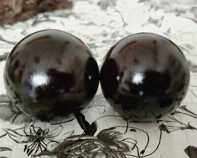 Pair Natural Solid Ebony Wood Hand Exercise Ball Massage Toy Physical Healthy