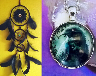 """21""""American Indian Design RAVEN FEATHER DREAMCATCHER, TURQUOISE Amulet"""