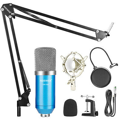 Neewer Blue Studio Broadcasting Recording Condenser Microphone Arm Stand Kit