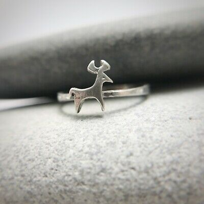 Sterling Silver Deer Midi Ring Size 5.5