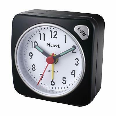 Pluteck Non Ticking Travel Alarm Clock with light and Ascending/Snooze Sound Sml