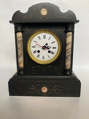 Antique Slate and Marble Mantle Clock with a Modern Battery Mechanism