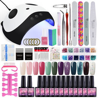 Pro UV Gel Nail Polish 12pc Soak Off Base Top Care Kit 36W LED Dryer Light US