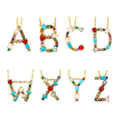 Alphabet Initial A-Z letter Cubic Zircongold plated Pendant chain necklace