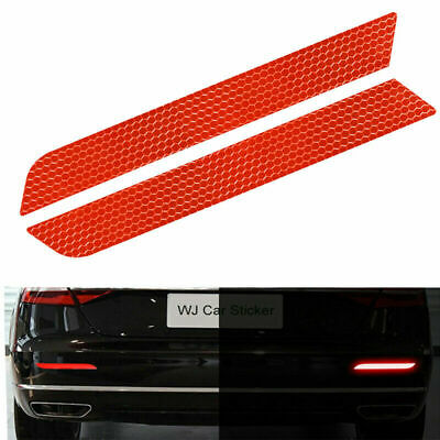 2Pcs/set Red Warning Tape Car Bumper Sticker Driving Safety Reflective Strips