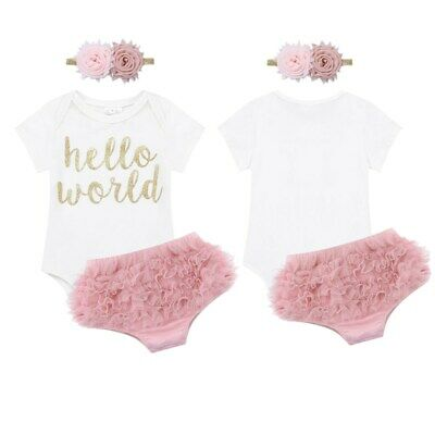 Newborn Baby Girls Hello World Romper Bloomers Headband Infant Outfit Clothes