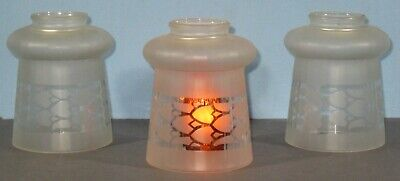 Vintage Set 3 Frosted Bell Shape Transfer Decorated Glass Lamp Shades Table