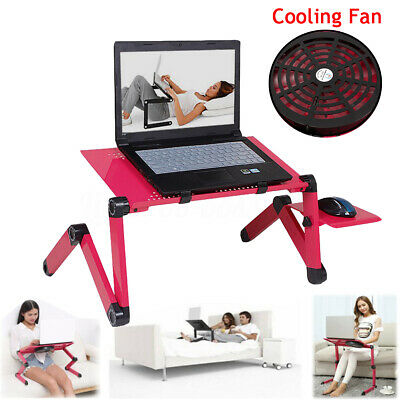 Foldable 360°Adjustable Laptop Notebook Desk Table Stand Bed Tray w/ Cooling Fan