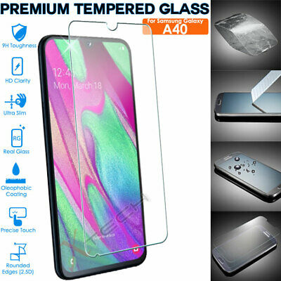 Genuine TEMPERED GLASS Screen Protector Cover for Samsung Galaxy A40 (SM-A405F)
