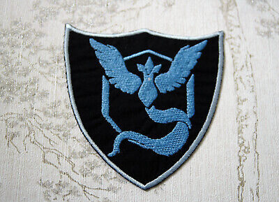 Embroidered iron on patch: Pokemon GO team Mystic crest.