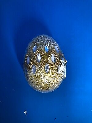Pier 1 Imports NWT Easter Spring GOLD BEADED AND JEWELED EGG