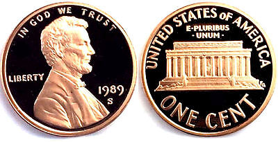 1989 S GEM BU PROOF Lincoln Memorial BRILLIANT UNCIRCULATED PENNY US COIN PF