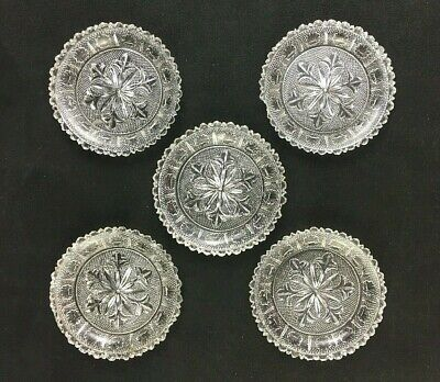 🔷 Set of 5 Antique Sandwich Flint Lacy Glass Miniature Cup Plate LR-146 c. 1830