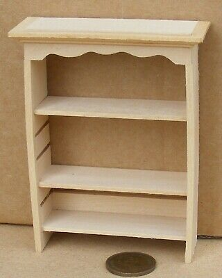1:12 Scale Wall Mounted Natural Finish Wooden Shelving Unit Tumdee Dolls House Z