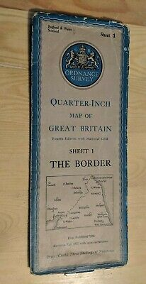 Vintage Ordnance Survey Quarter Inch Fold Out Cloth Map Sheet 1 The Border