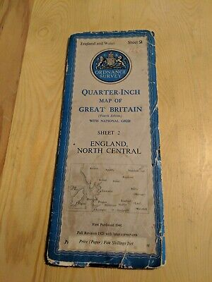 Ordnance Survey Quarter Inch Fold Out Paper Map Sheet 2 England North Central