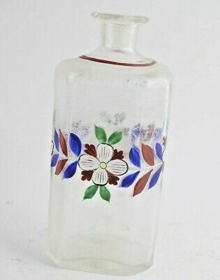 """Antique 19th Century Barber Shop Glass Bottle 6"""" Tall Painted w. painted flowers"""