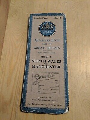 Ordnance Survey Quarter Inch Fold Out Cloth Map Sheet 4 North West Manchester