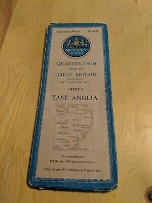 Vintage ORDNANCE SURVEY QUARTER INCH FOLD OUT PAPER MAP SHEET 9 ANGLIA